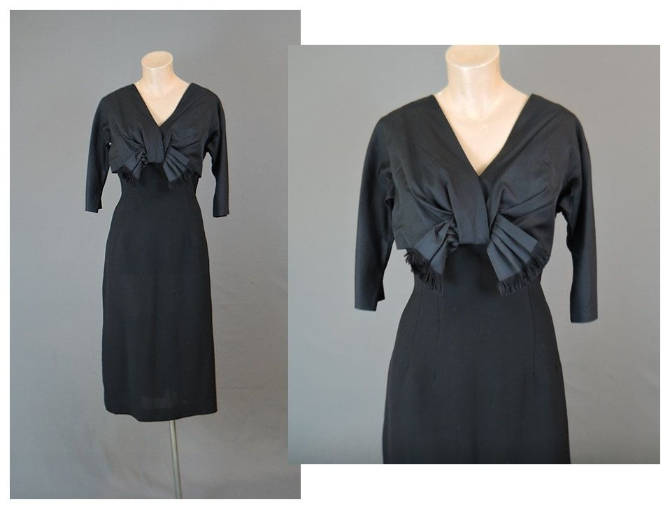 1950s Dress Black with Silk Bow 36 inch bust Silk Faille and Crepe Vintage Evening Cocktail Dress by dandelionvintage on Etsy