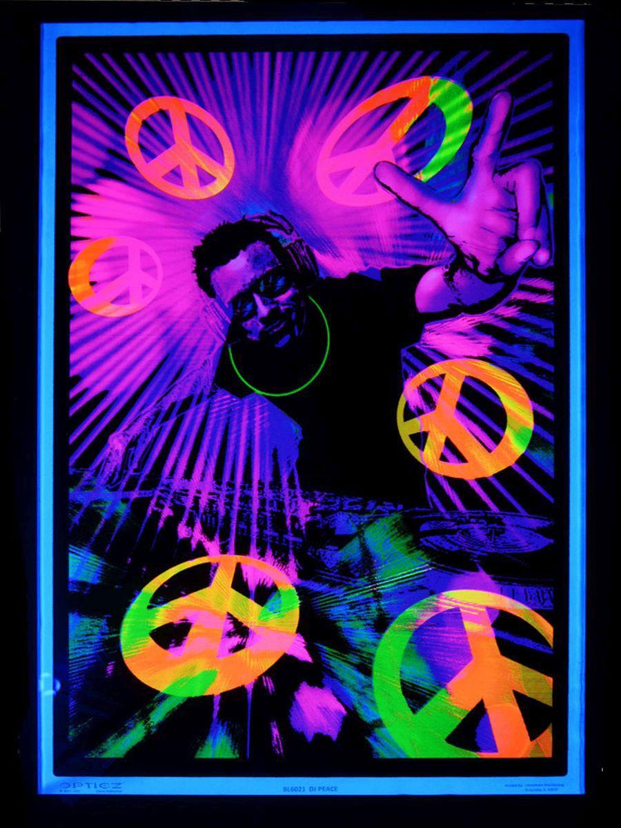 UV Schwarzlicht Poster DJ Peace Blacklight Wallpaper Neon Dj Psy Deco