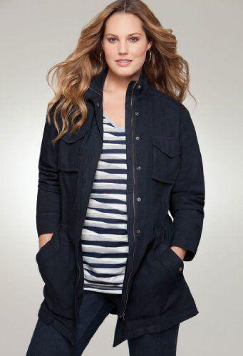 Avenue Plus Size Anorak Denim Jacket