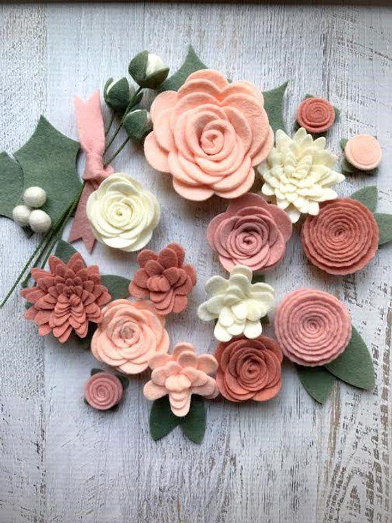 Photo of Felt flowers, blush pink, felt roses, loose flowers, felt garlands, baby shower, wedding, farmhouse decor, nursery mobile, DIY