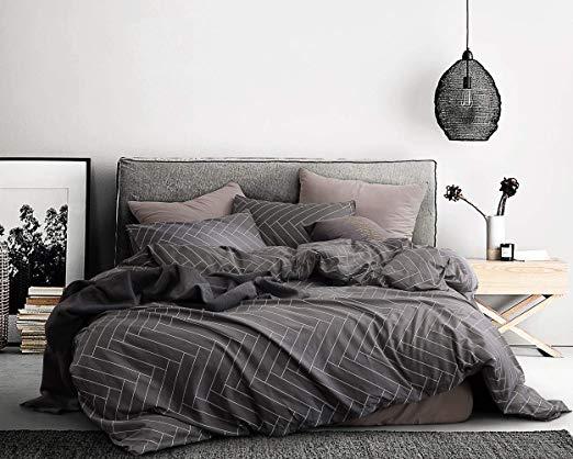 Amazon Com Ecocott 3 Pieces Duvet Cover Set King 100 Natural Cotton 1 Duvet Cover 2 Pillowcases Dar Dark Grey Bedding Grey Linen Bedding Duvet Cover Pattern