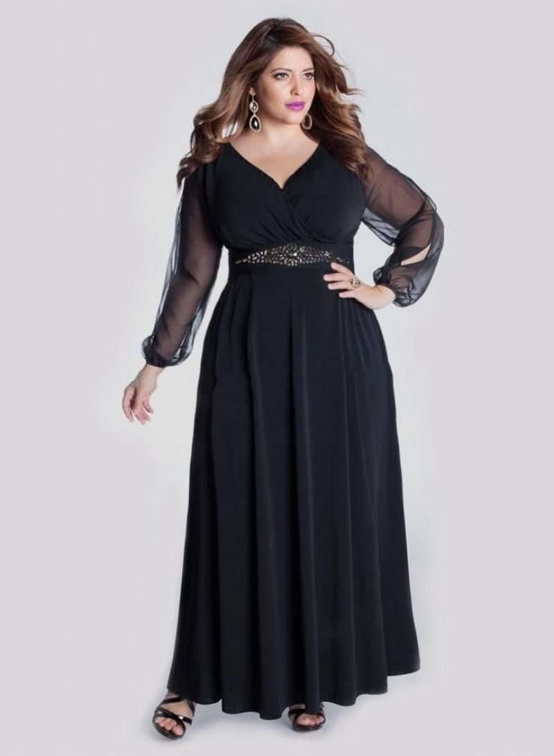 e686d4ccb6753 Elegant Black Plus Size Prom Dresses with Long Sleeve A Line V Neck Cheap  Party Formal