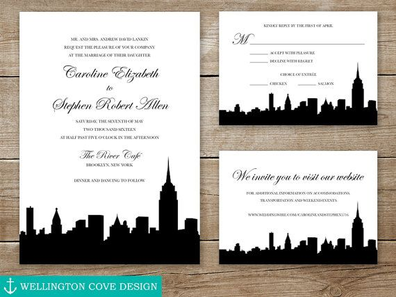 New York City Wedding Invitation Suite Nyc Skyline Empire Etsy City Wedding Invitations Wedding Invitation Suite City Wedding