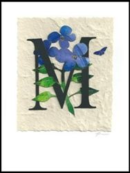 "Alphabet letter ""M"" handcrafted greeting card"