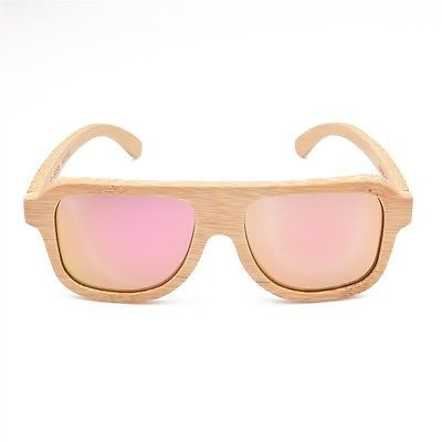 Handmade 100% bamboo&Wood Sunglasses Polarized beige with pink mirrow lens 058