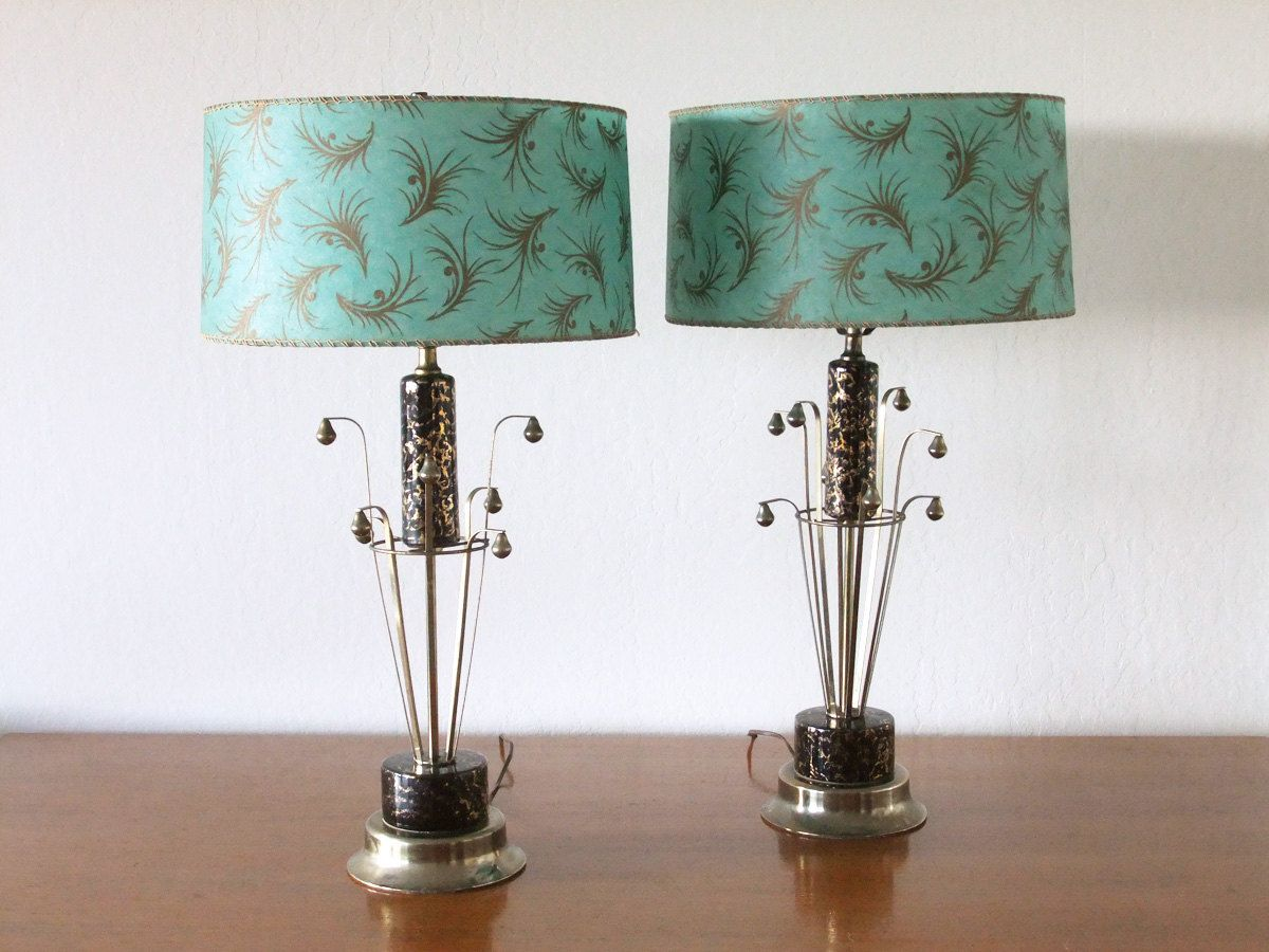 Mid Century Lamp Shades Pair Of 1950S Mid Century Modern Atomic Lamps With Turquoise And