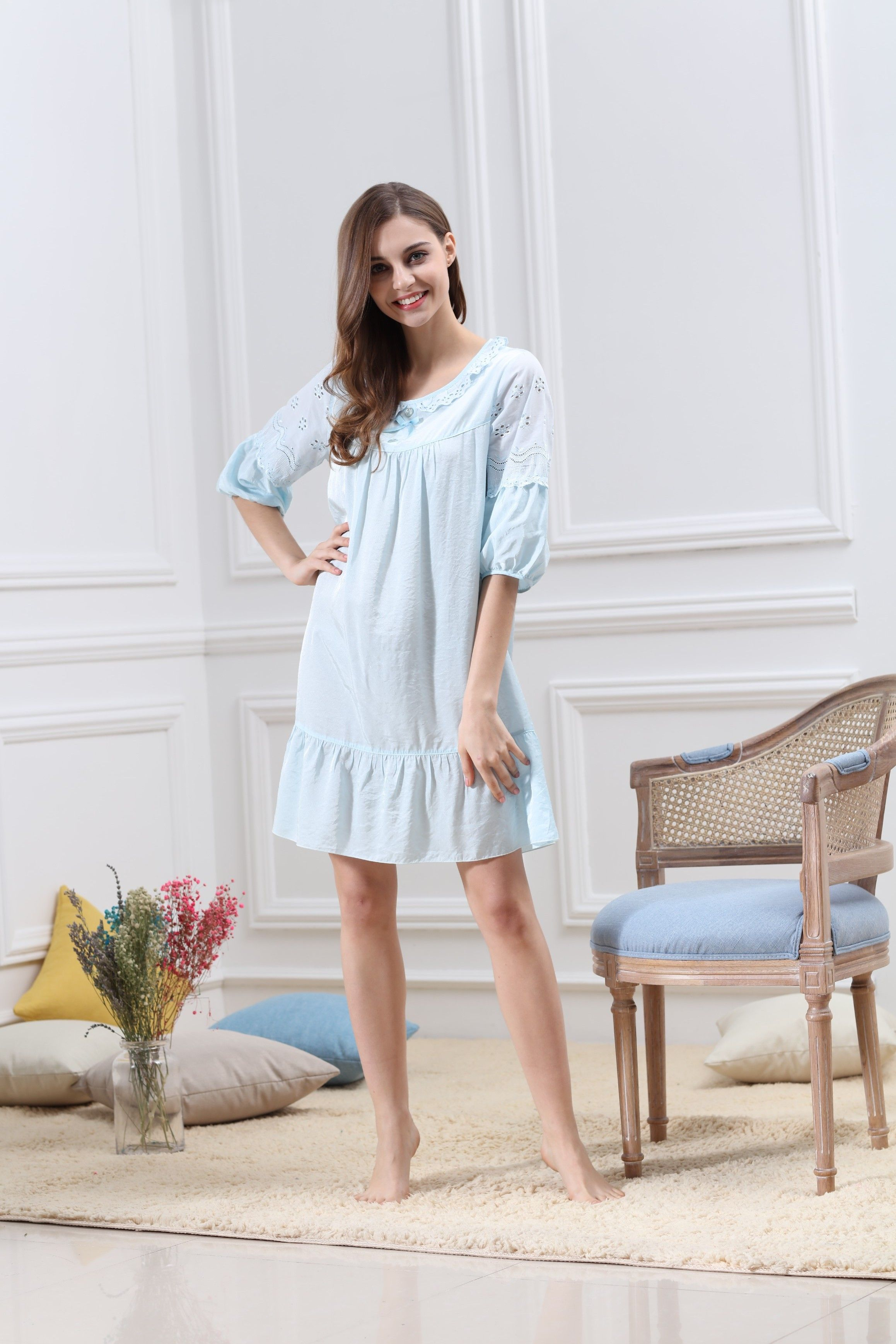 8d85deae6a  Cotton  Sleepwear  Skirt  vDress  HomeService  Soft  Bedwear   FivePointsSleeves  Lace  Sweet  NightGown  PrincessStyle