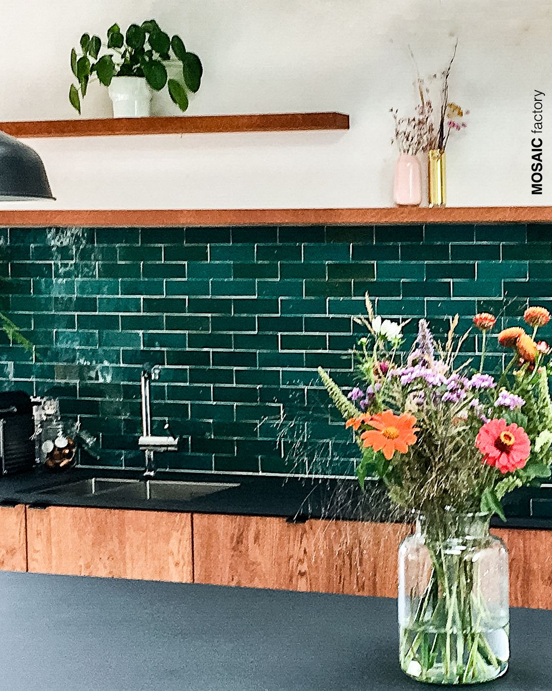 Azulejo Zellige Rectangular Verde De Mosaic Del Sur Pared Verde Cocinas Con Mosaico Decoracion De Cocina