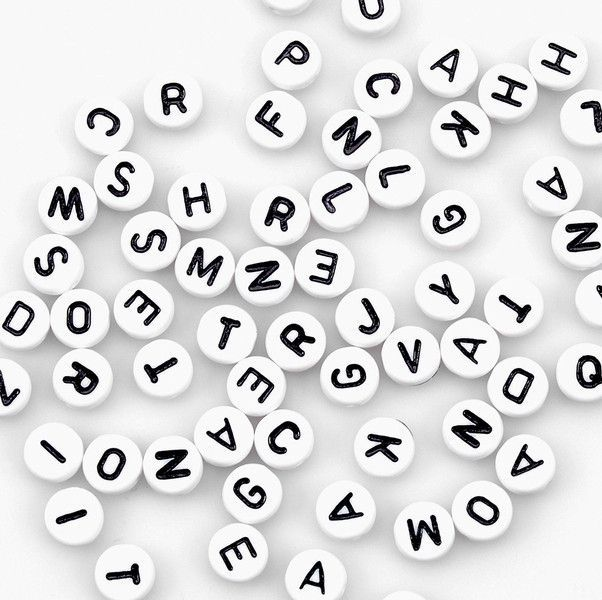 alphabet beads, 7mm-white round