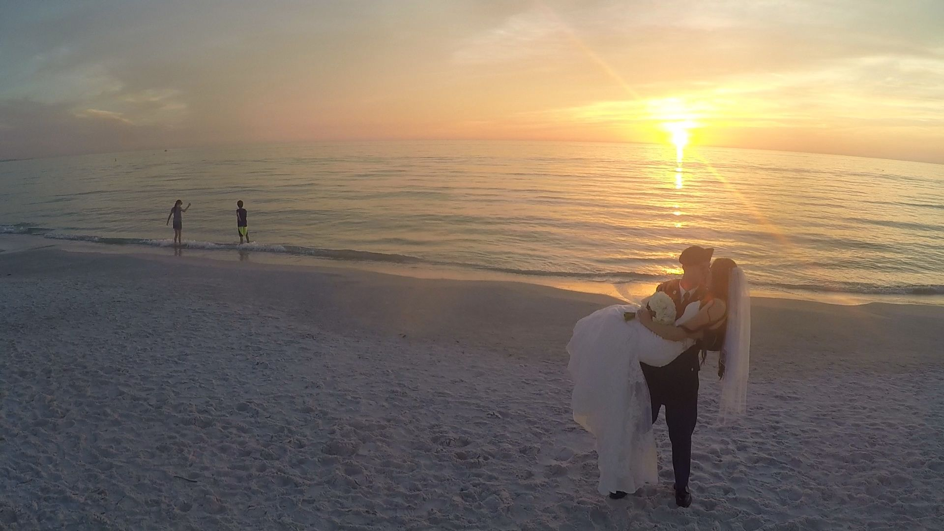 Aerial shot from drone of wedding at TradeWinds Island Resort http://celebrationsoftampabay.com/