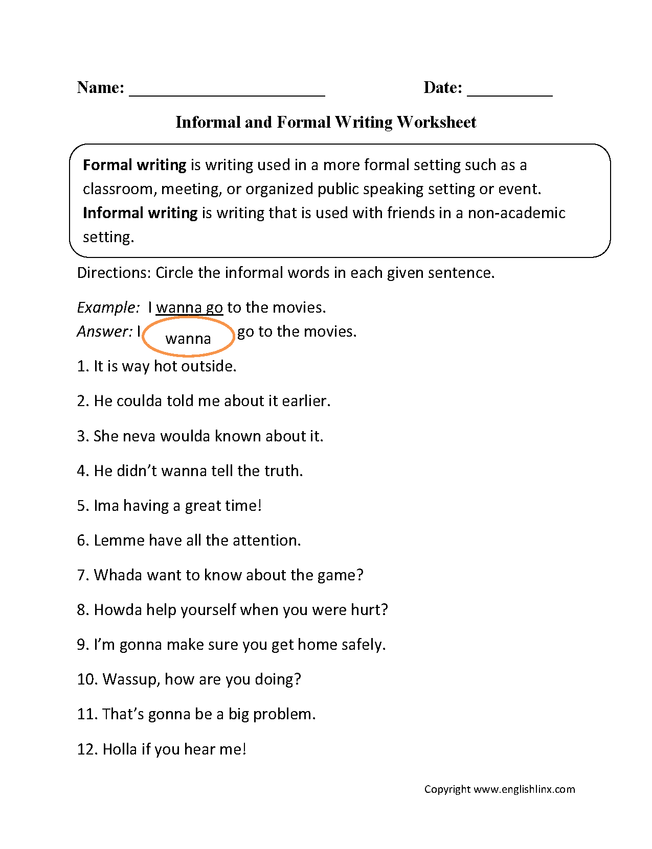 Informal And Formal Writing Worksheet