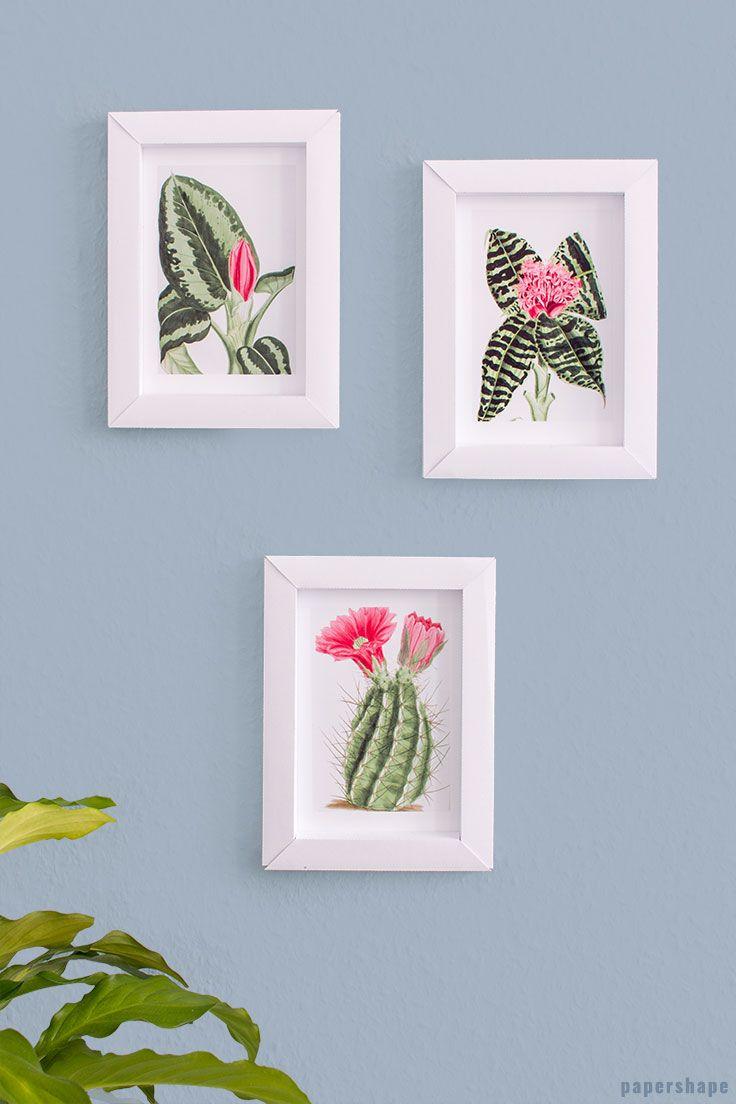 3d bilderrahmen basteln aus papier ganz ohne kleben vorlage paper crafts pinterest. Black Bedroom Furniture Sets. Home Design Ideas