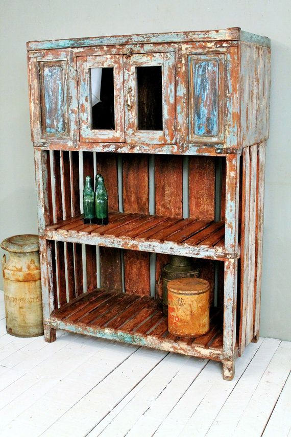 Vintage Distressed Blue Turquoise Rustic Storage Kitchen ...