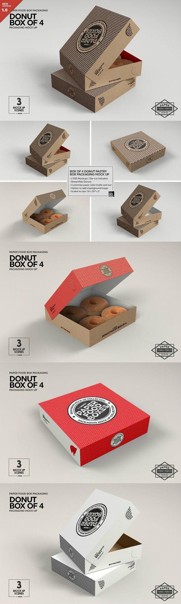 Box of Four Donut Pastry Box Mockup | psd keys | Box mockup