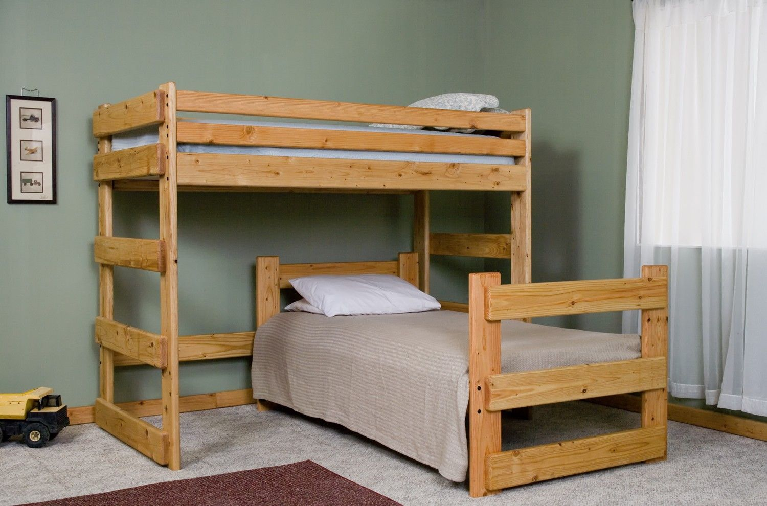 L Shaped Bunk Beds For The Twin S Room Rustic L Shaped