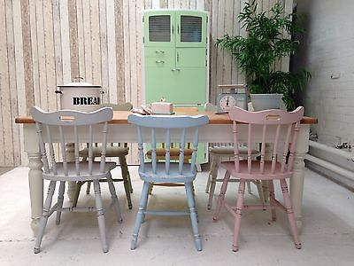 Pine Farmhouse Dining Table and Six Vintage Mis matched Chairs ...