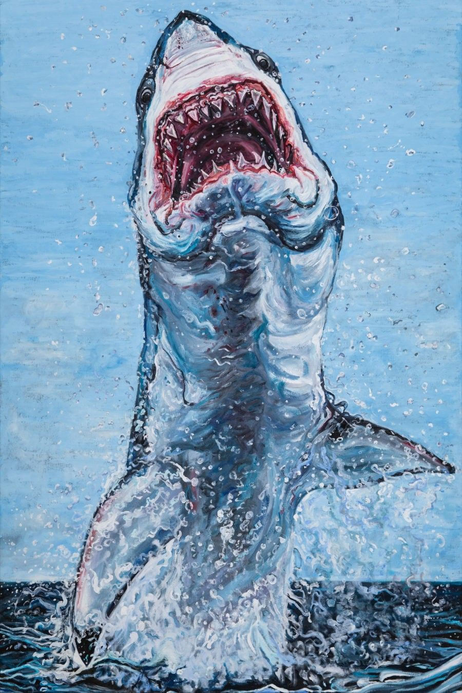 Pin By Xander Demos On Sharkin Painting Great White Shark Art