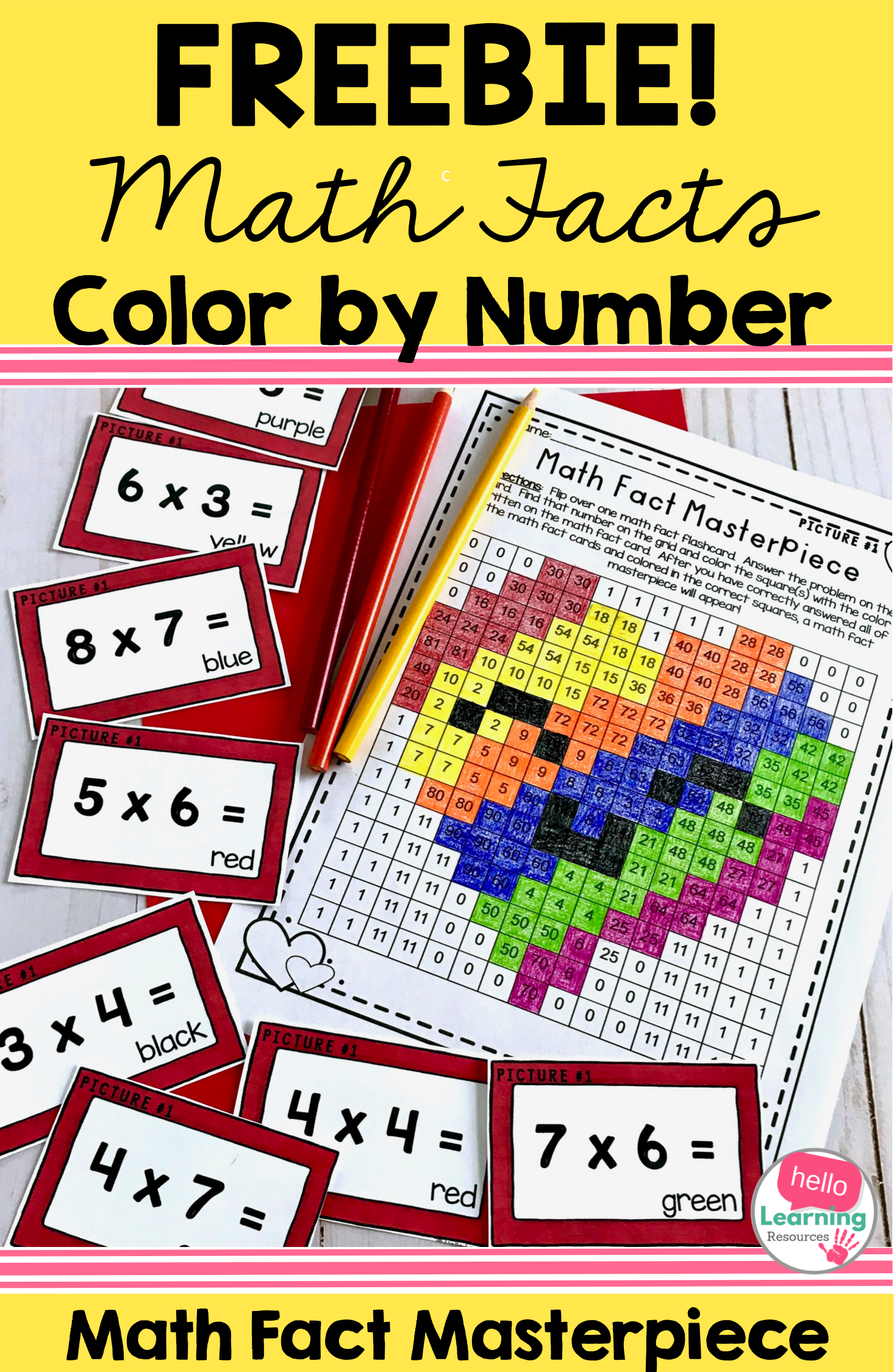 Math Facts Color By Number Multiplication Freebie