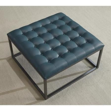Healy Teal Leather Tufted Ottoman 179 With Images