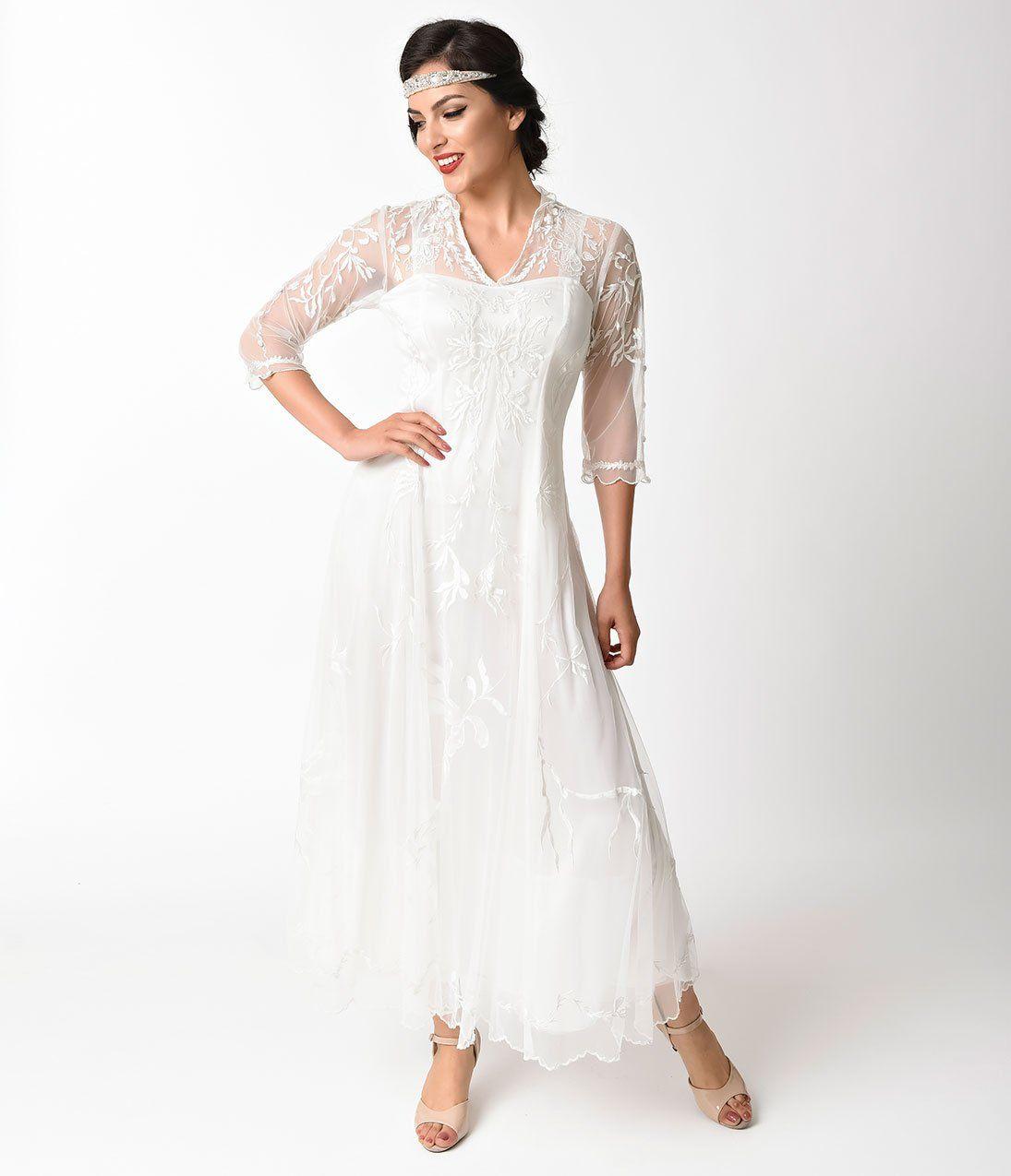1900 Edwardian Dresses Tea Party Dresses White Lace Dresses 1930s Vint Wedding Dresses Vintage Lace Sleeves Lace Wedding Dress Vintage Wedding Dresses Unique [ 1275 x 1095 Pixel ]