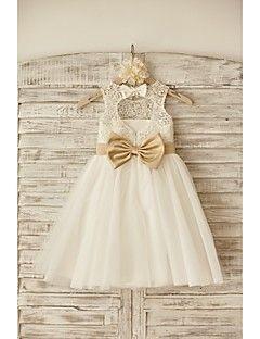 791e5f36a61dd Tenues de Mariage Pour Enfants. Robe de Demoiselle d Honneur Fille -  Princesse Longueur genou Sans manches Dentelle Tulle