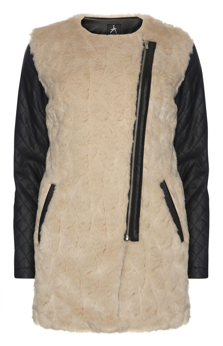 6124550b40f Primark - Cream Faux Fur PU Sleeve Coat | Primark in 2019 | Faux fur ...