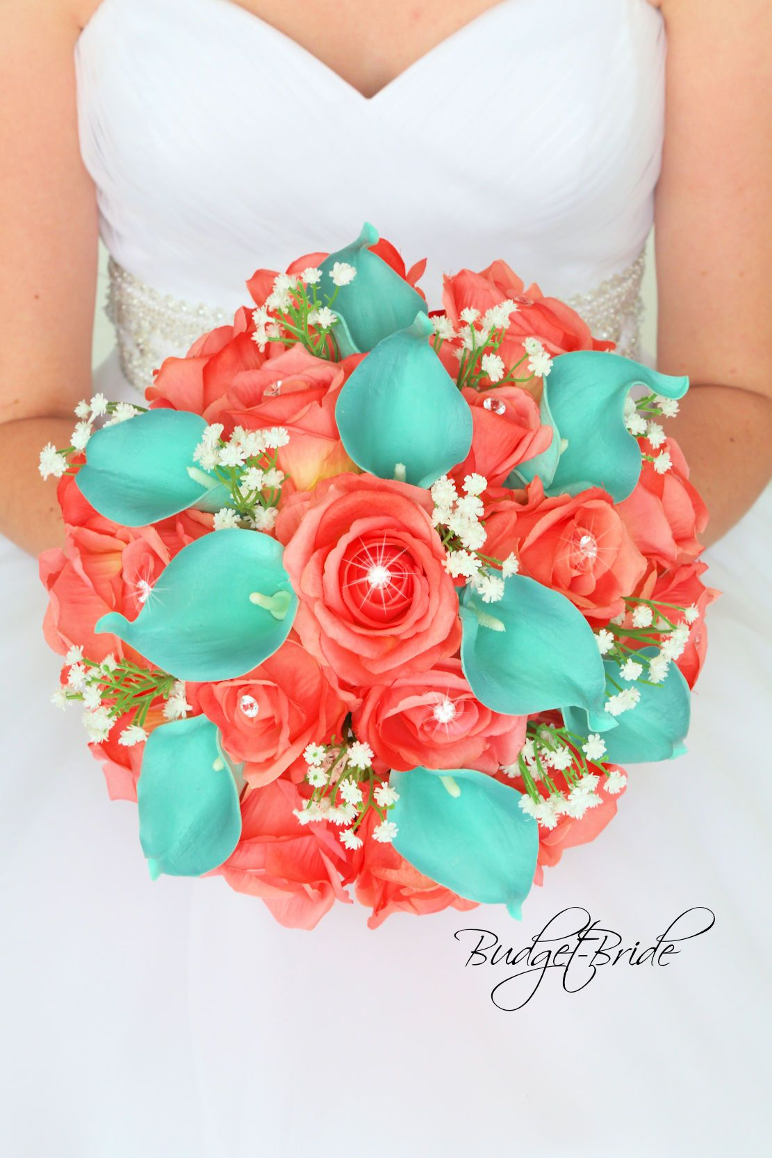 Coral Reef Davids Bridal Wedding Bouquet And Teal Real Touch Calla