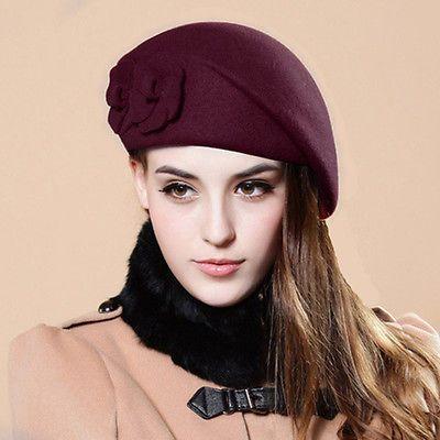 54626f8d4a308e Women Ladies Wool Warm Felt French Fashion Flower Beret Beanie Ski Hats Tam  Cap