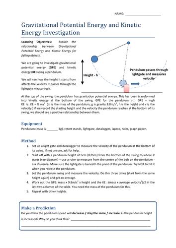 Gravitational Potential Kinetic Energy Worksheet