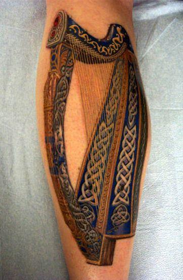 ed8e9728c Harp with Celtic Knot Embellishments by TattooMasterZAO.deviantart.com