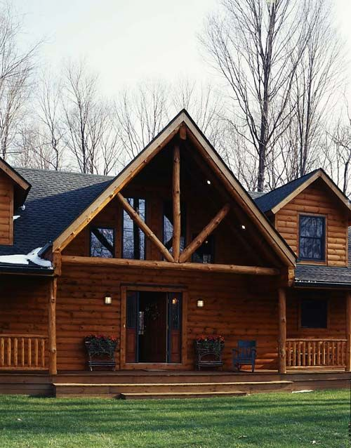 Classic log cabin in ohio photos porch porch roof and for Log home porches