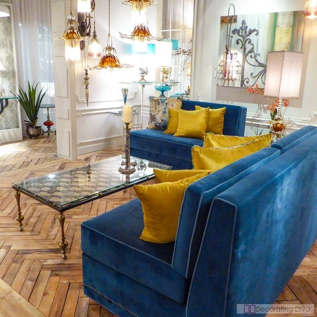 Best Luna Bella Bright Blue Velvet Armless Sofas Sectional 400 x 300