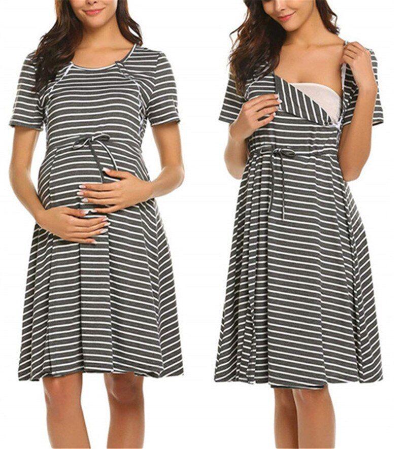 UK Women Striped Maternity Pajamas Nightdress Nursing Breastfeeding Casual Dress