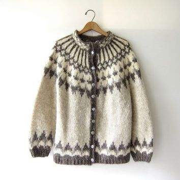 Vintage Fair Isle sweater. Icelandic cardigan sweater. wool ...