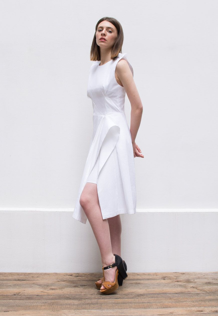 Plus size dress designer dress white midi dress knee length dress