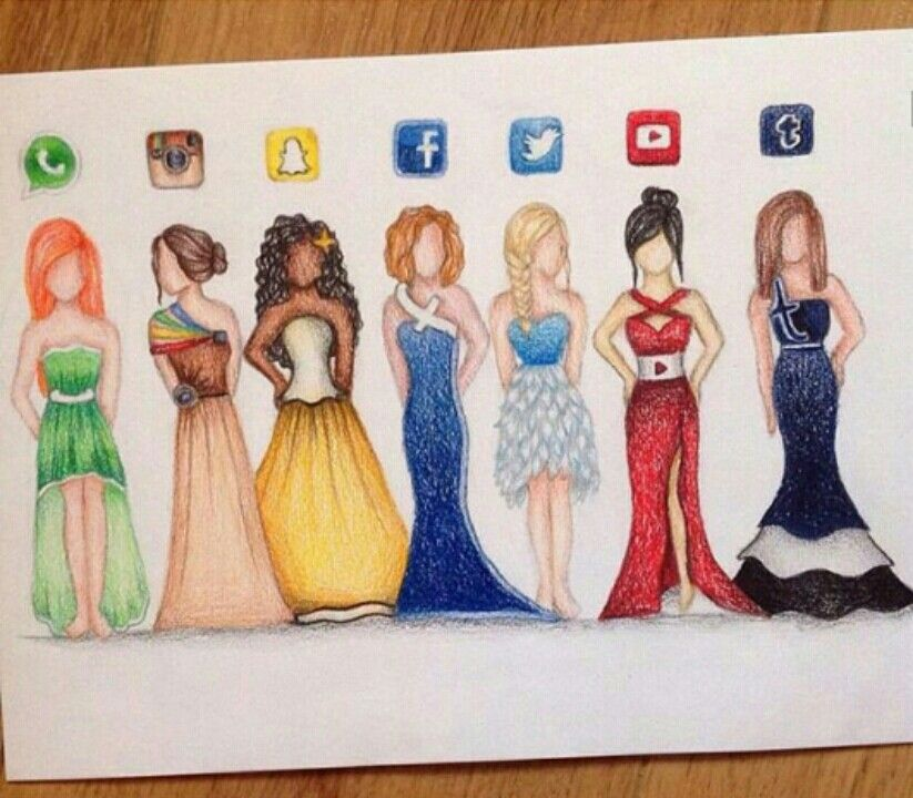 Whatsapp, Instagram, Snapchat, Facebook, Twitter, Youtube and Tumblr lady dress drawings