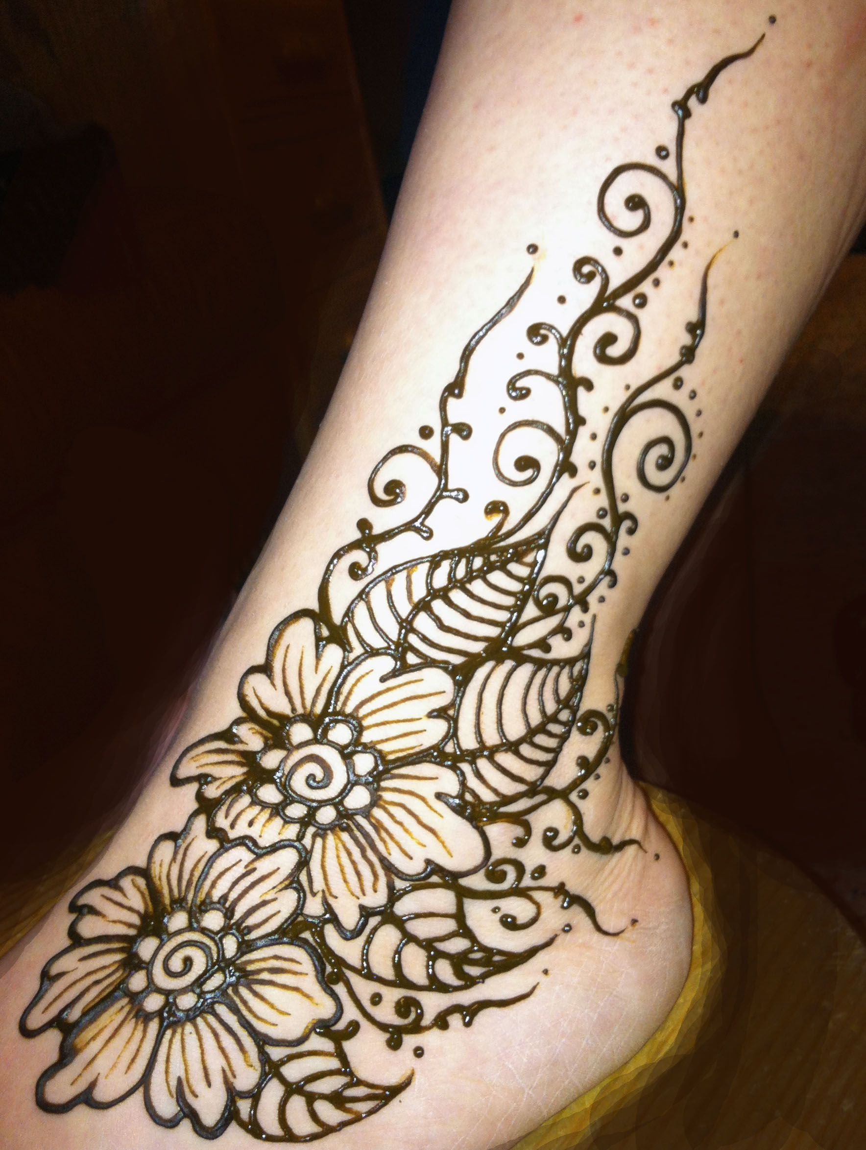 Henna Flowered Ankle | Henna By Cynthia Ann McDonald ...