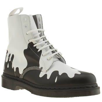 Dr martens black white print pascal paint splat boots