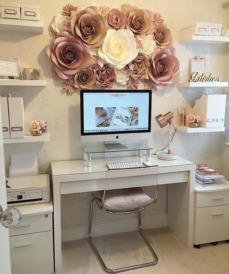 Home office decorated with mauve flower wreath and white one in middle also best work space inspo images decor desk rh pinterest
