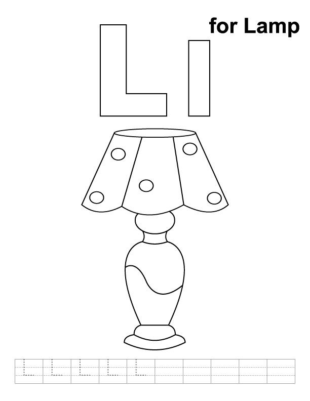 L For Lamp Coloring Page With Handwriting Practice Kindergarten