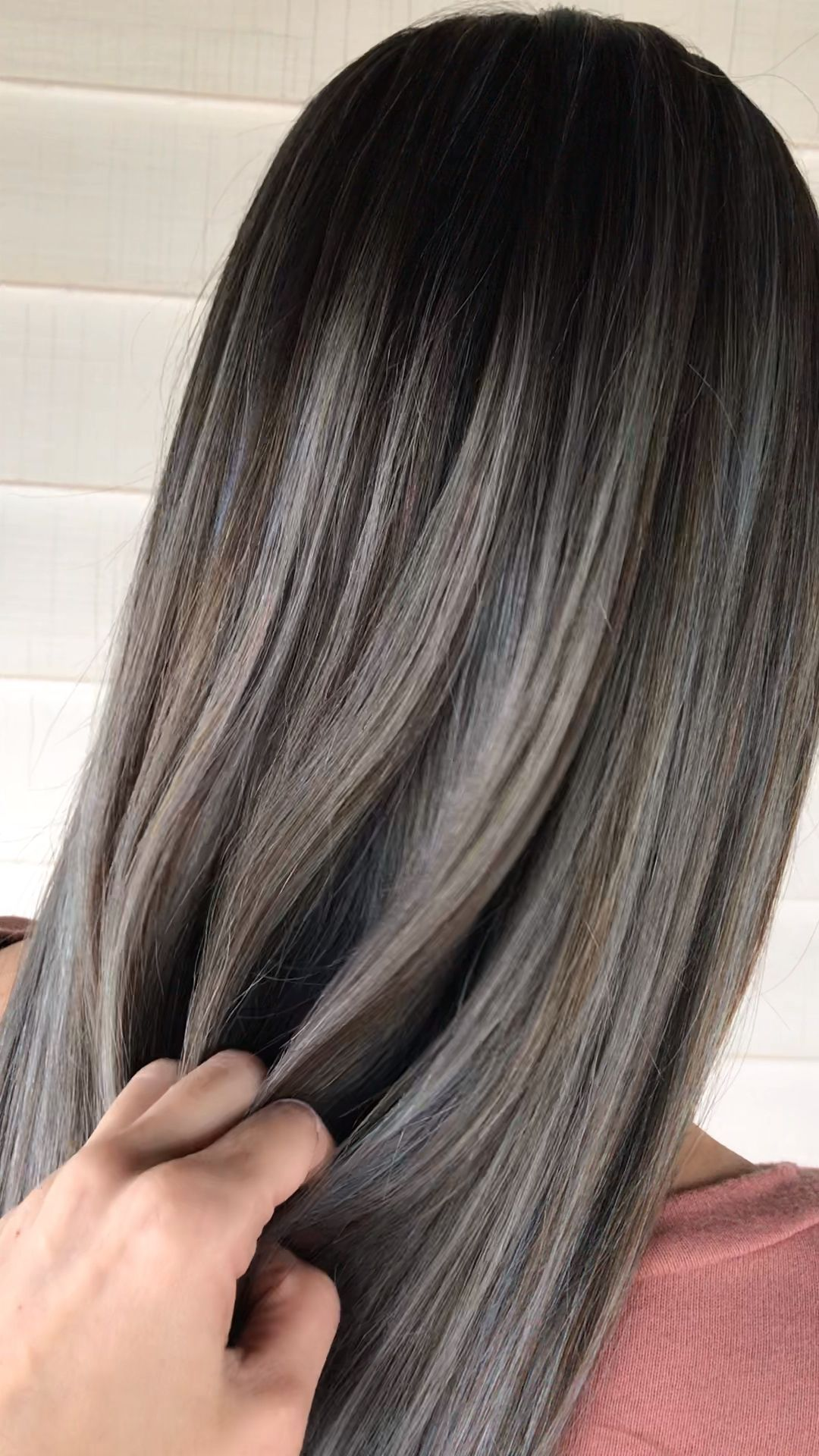 Silver Ash Blonde Balayage On Long Black Hair Ash Balayage Black Blonde Hair Long Silver In 2020 Ash Blonde Balayage Hair Highlights Hair Color