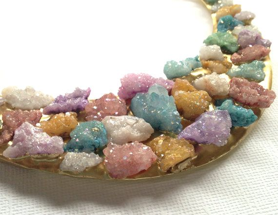 Crescent Necklace  Mix Color Druzy Gold Necklace  by BijiJewelry