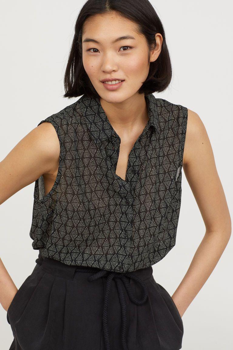66b5d9293bf7d Sleeveless Blouse - Black patterned - Ladies