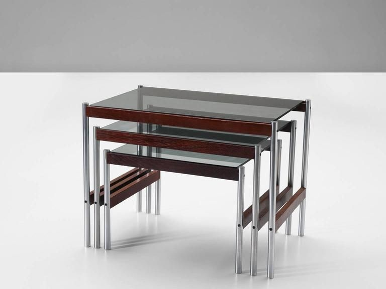 Chrome and Wenge Nesting Tables by Fristho, 1960s