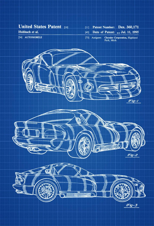 New to PatentsAsPrints on Etsy: 1996 Dodge Viper Patent - Patent ...