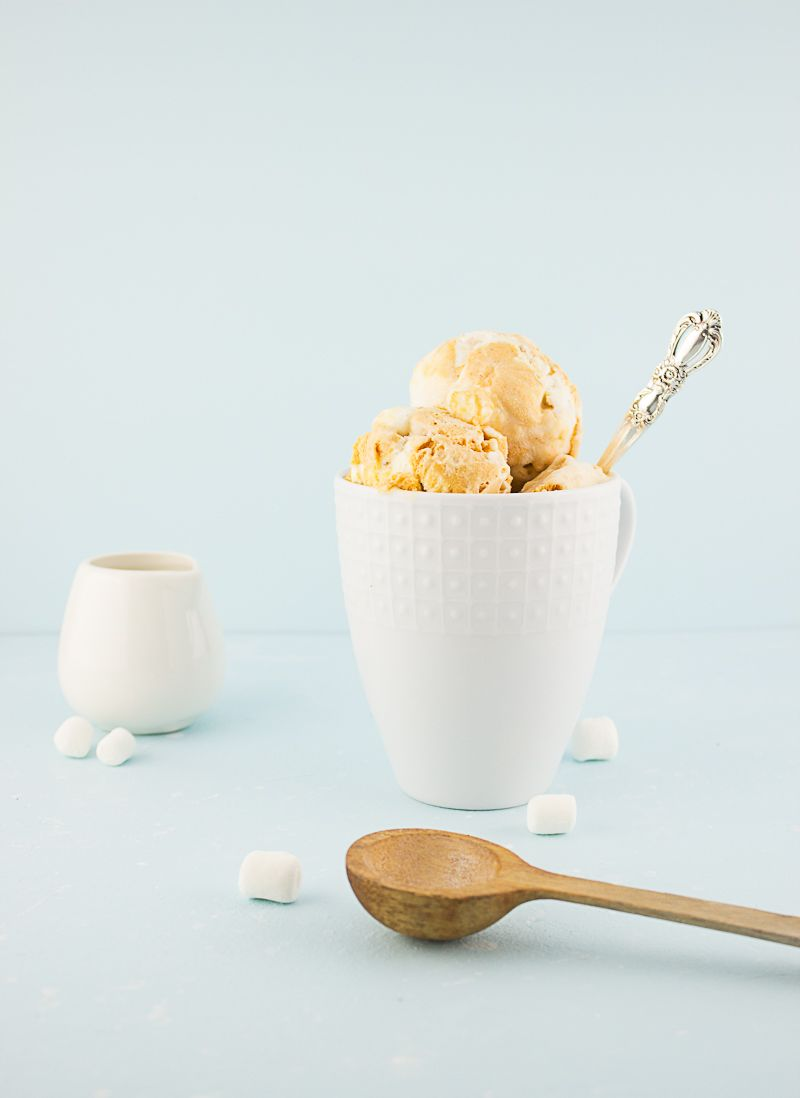 amazing, creamy, rich no churn spiced sweet potato swirl ice cream with toasted bits of marshmallow