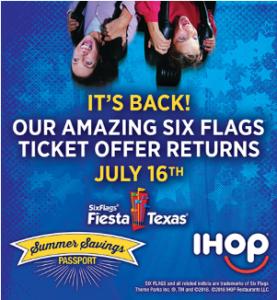 4 Six Flags Fiesta Texas Tickets 50 In Ihop Savings For 89 99 Summer 2018