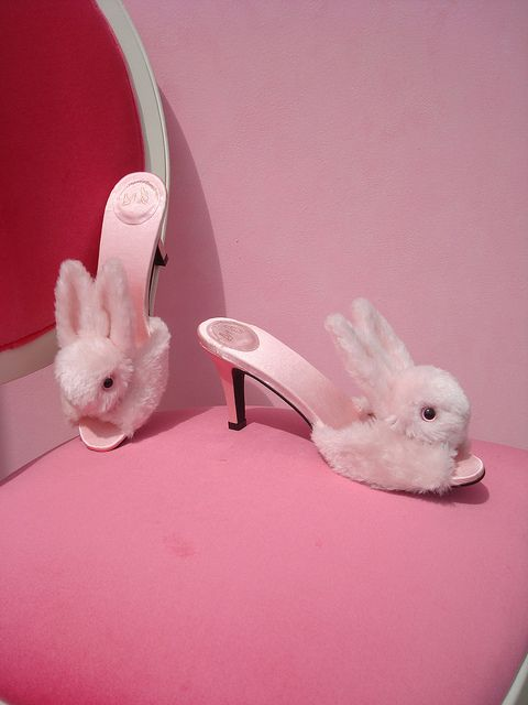 28a12973c666 High heel Bunny Slippers... just one time I d like to answer the door  wearing these!! Love!   )