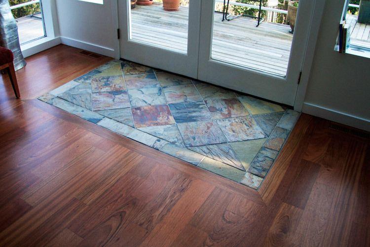 Slate Next To Hardwood Floors Jatoba Wslate Entry Specialty