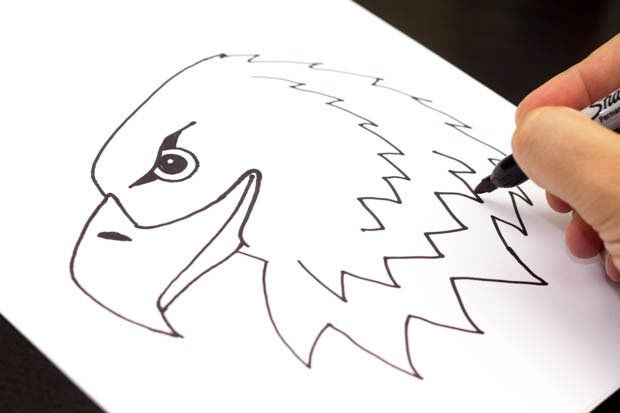 how to draw an eagle easy